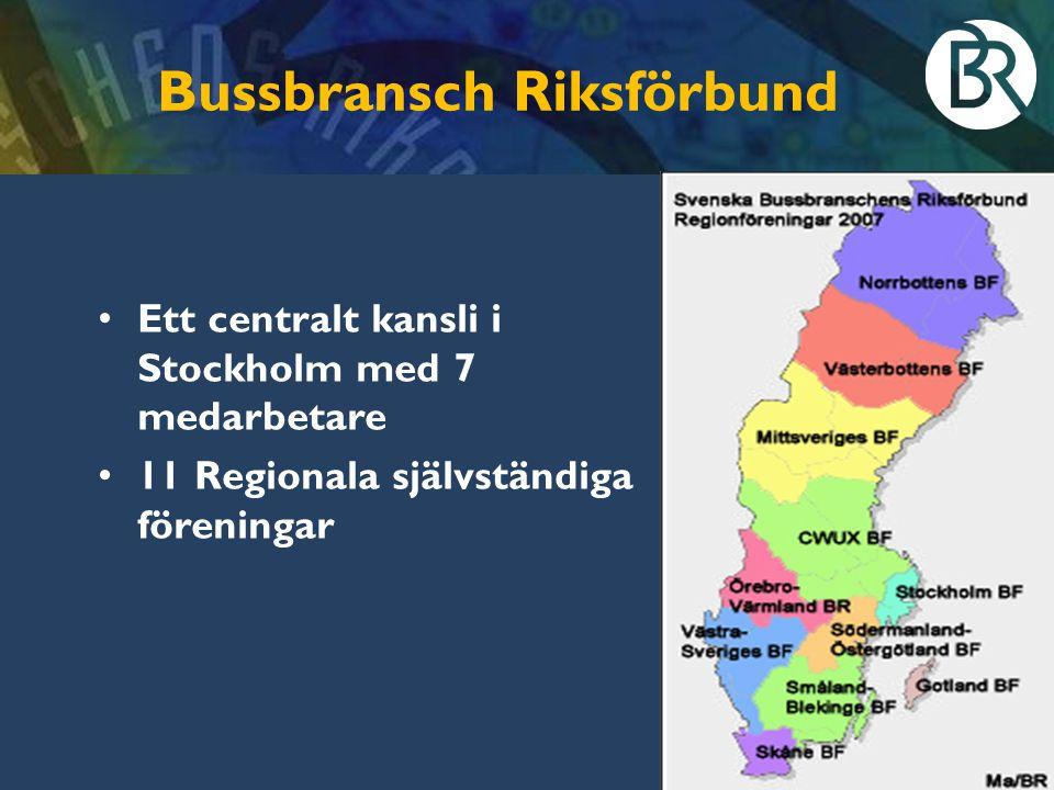 Bussbransch Riksförbund Ett centralt kansli i Stockholm med 7 medarbetare 11 Regionala självständiga föreningar