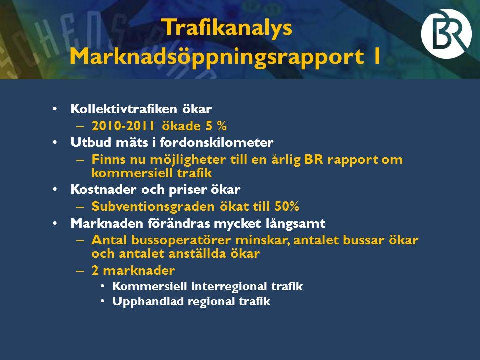 Trafikanalys Marknadsöppningsrapport 1 Kollektivtrafiken ökar – 2010-2011 ökade 5 % Utbud mäts i fordonskilometer – Finns nu möjligheter till en årlig