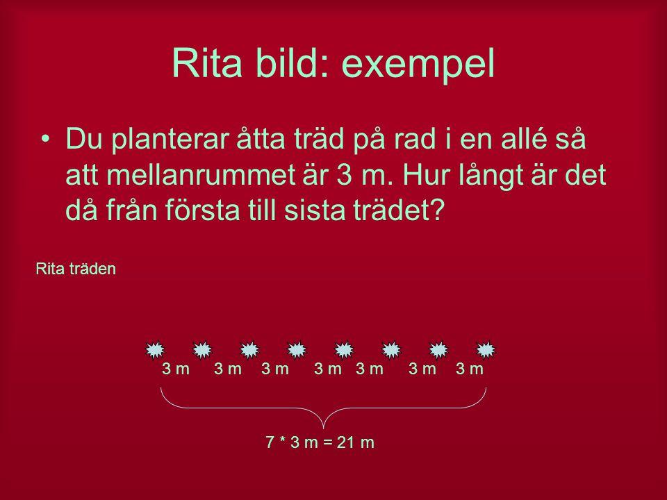 Rita bild: exempel Du planterar åtta träd på rad i en allé så att mellanrummet är 3 m. Hur långt är det då från första till sista trädet? Rita träden