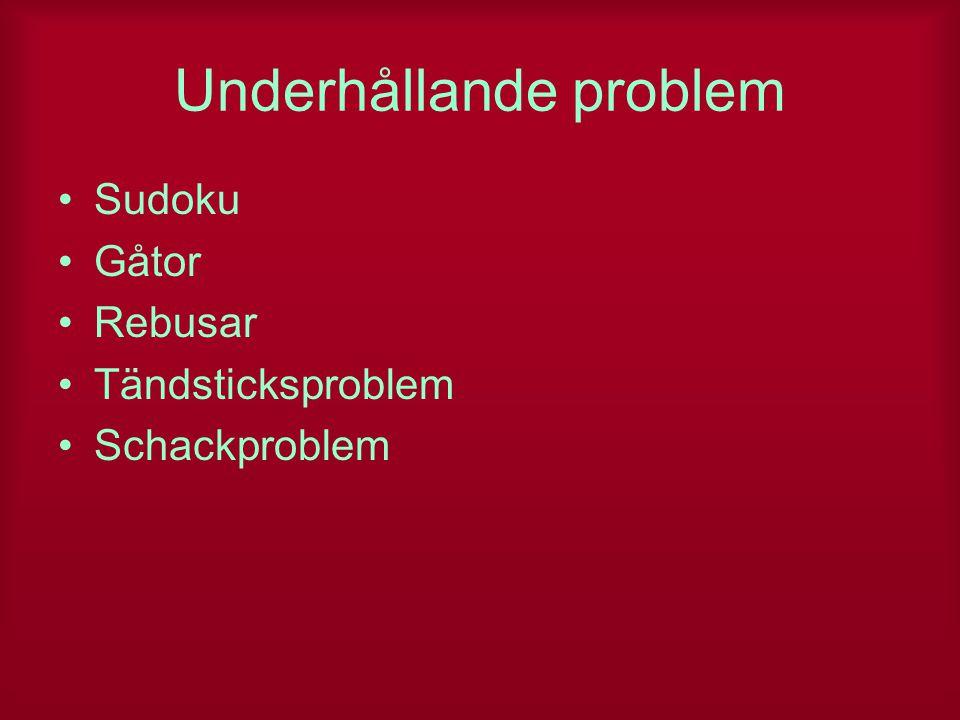 Underhållande problem Sudoku Gåtor Rebusar Tändsticksproblem Schackproblem