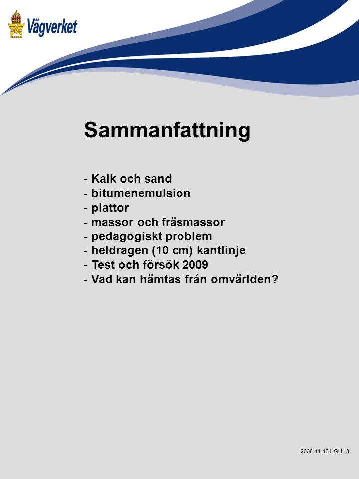 132008-11-13 HGH Sammanfattning - Kalk och sand - bitumenemulsion - plattor - massor och fräsmassor - pedagogiskt problem - heldragen (10 cm) kantlinje - Test och försök 2009 - Vad kan hämtas från omvärlden