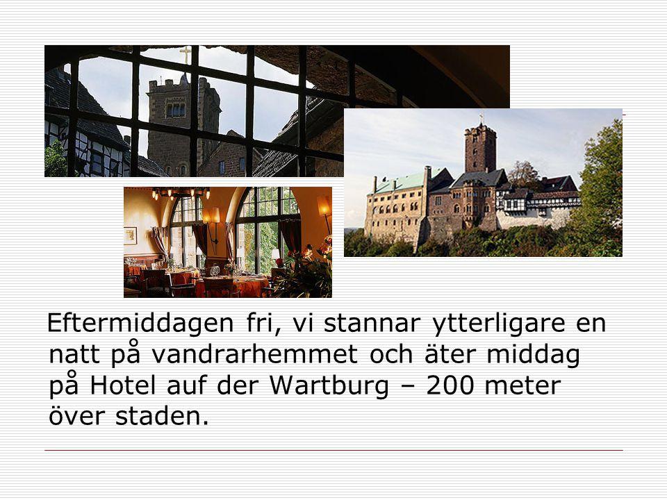 Eftermiddagen fri, vi stannar ytterligare en natt på vandrarhemmet och äter middag på Hotel auf der Wartburg – 200 meter över staden.