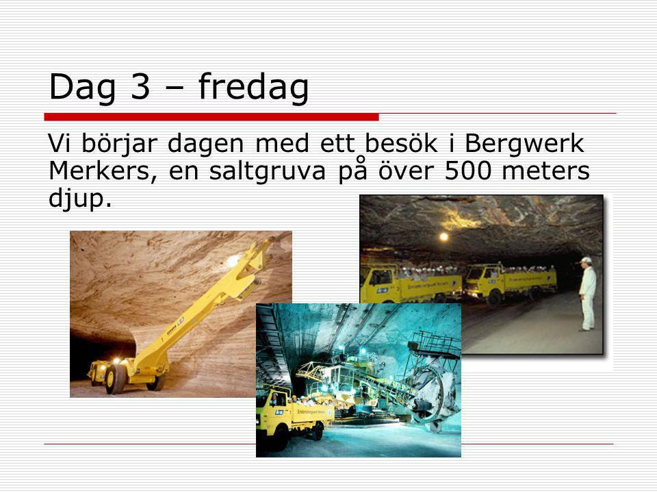 Dag 3 – fredag Vi börjar dagen med ett besök i Bergwerk Merkers, en saltgruva på över 500 meters djup.