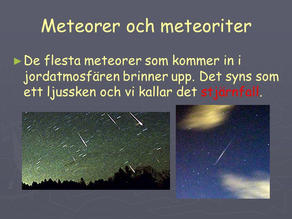 Meteorer och meteoriter ► ► De flesta meteorer som kommer in i jordatmosfären brinner upp.