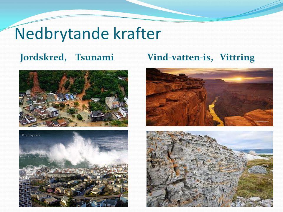 Nedbrytande krafter Jordskred, Tsunami Vind-vatten-is, Vittring Jordskred
