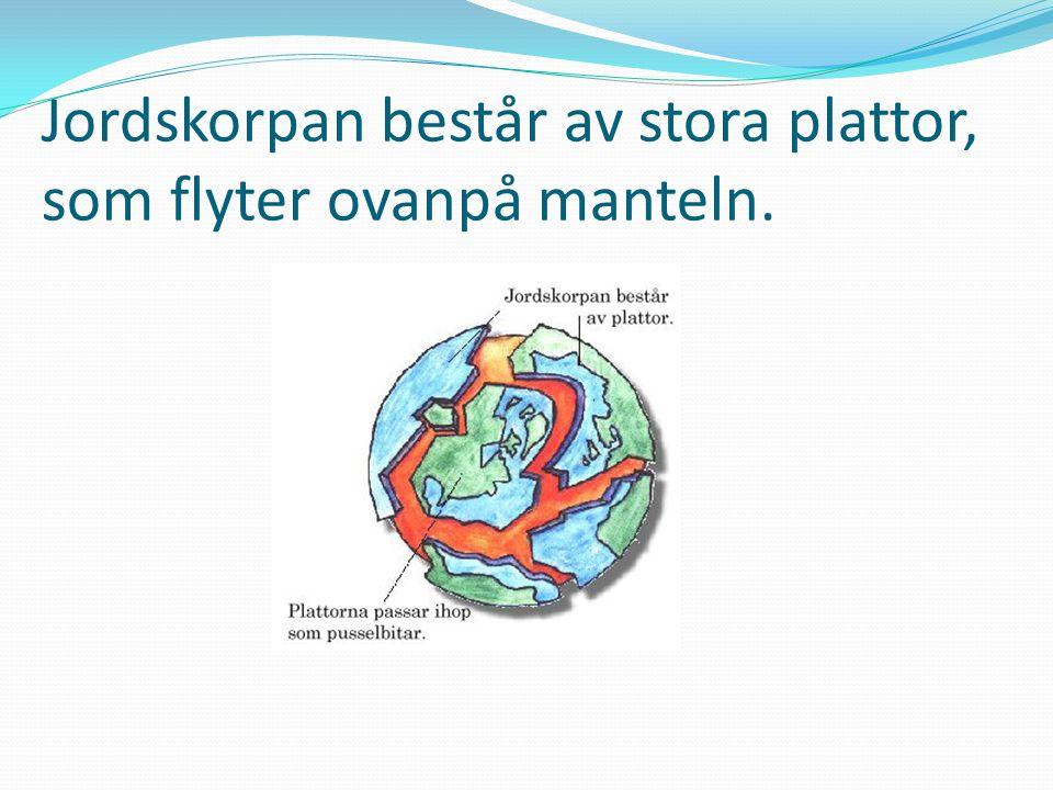 Jordskorpan består av stora plattor, som flyter ovanpå manteln.