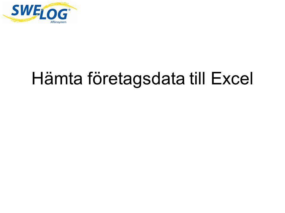 Hämta företagsdata till Excel