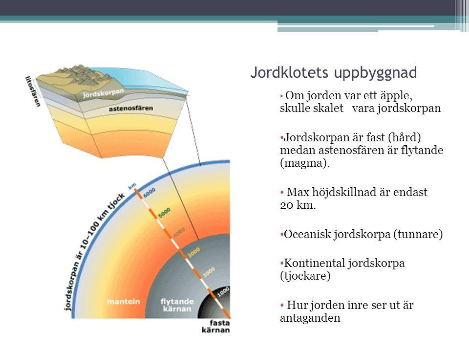 Jordklotets uppbyggnad Om jorden var ett äpple, skulle skalet vara jordskorpan Jordskorpan är fast (hård) medan astenosfären är flytande (magma). Max