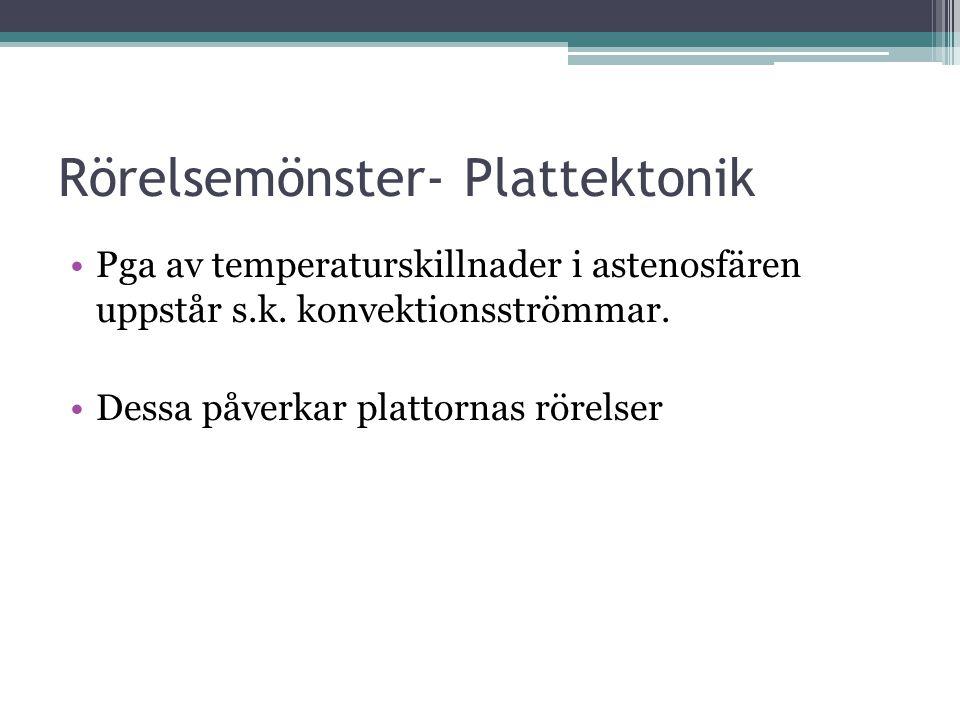 Rörelsemönster- Plattektonik Pga av temperaturskillnader i astenosfären uppstår s.k. konvektionsströmmar. Dessa påverkar plattornas rörelser
