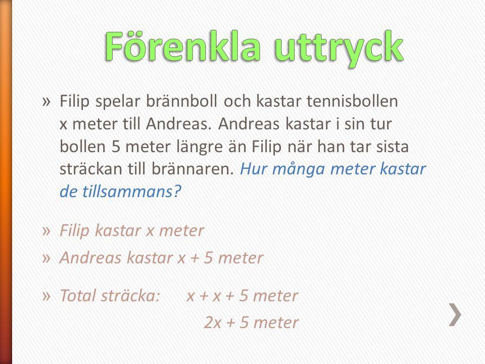 » Filip spelar brännboll och kastar tennisbollen x meter till Andreas. Andreas kastar i sin tur bollen 5 meter längre än Filip när han tar sista sträc