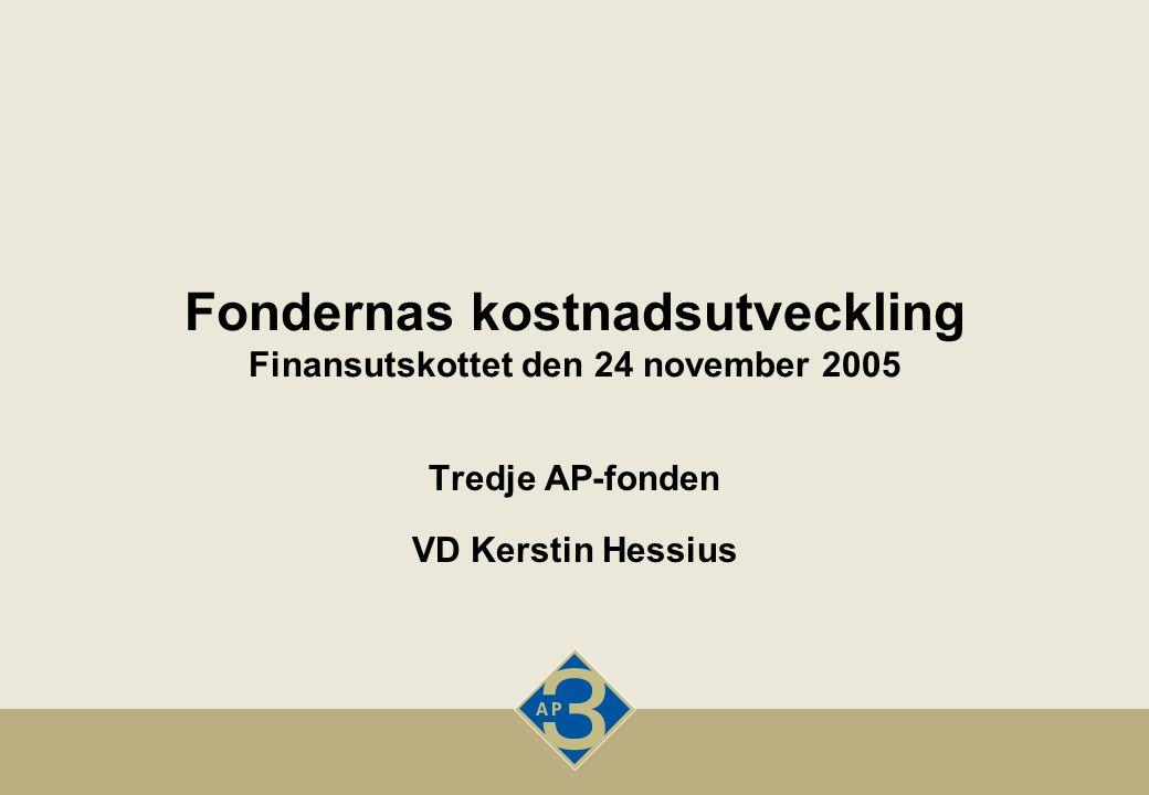Fondernas kostnadsutveckling Finansutskottet den 24 november 2005 Tredje AP-fonden VD Kerstin Hessius