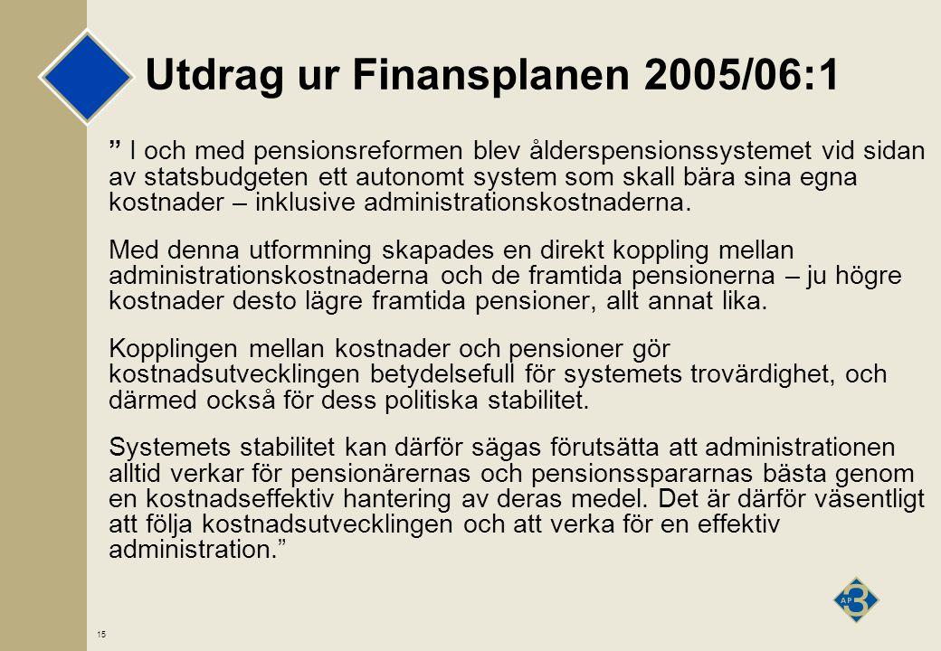 15 Utdrag ur Finansplanen 2005/06:1 I och med pensionsreformen blev ålderspensionssystemet vid sidan av statsbudgeten ett autonomt system som skall bära sina egna kostnader – inklusive administrationskostnaderna.