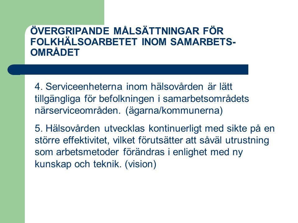 ÖVERGRIPANDE MÅLSÄTTNINGAR FÖR FOLKHÄLSOARBETET INOM SAMARBETS- OMRÅDET 4. Serviceenheterna inom hälsovården är lätt tillgängliga för befolkningen i s