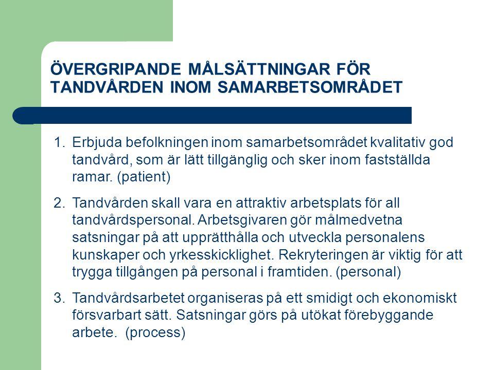 ÖVERGRIPANDE MÅLSÄTTNINGAR FÖR TANDVÅRDEN INOM SAMARBETSOMRÅDET 1.Erbjuda befolkningen inom samarbetsområdet kvalitativ god tandvård, som är lätt till