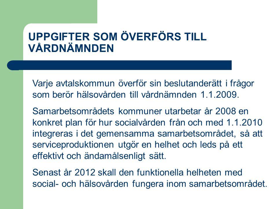 UPPGIFTER SOM ÖVERFÖRS TILL VÅRDNÄMNDEN Varje avtalskommun överför sin beslutanderätt i frågor som berör hälsovården till vårdnämnden 1.1.2009.