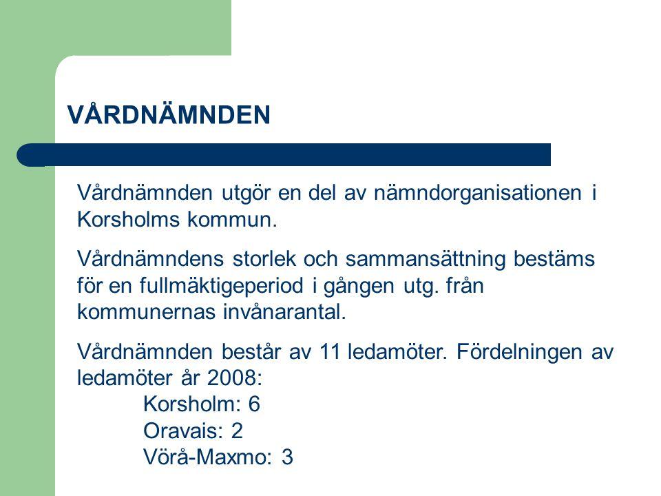 VÅRDNÄMNDEN Vårdnämnden utgör en del av nämndorganisationen i Korsholms kommun. Vårdnämndens storlek och sammansättning bestäms för en fullmäktigeperi