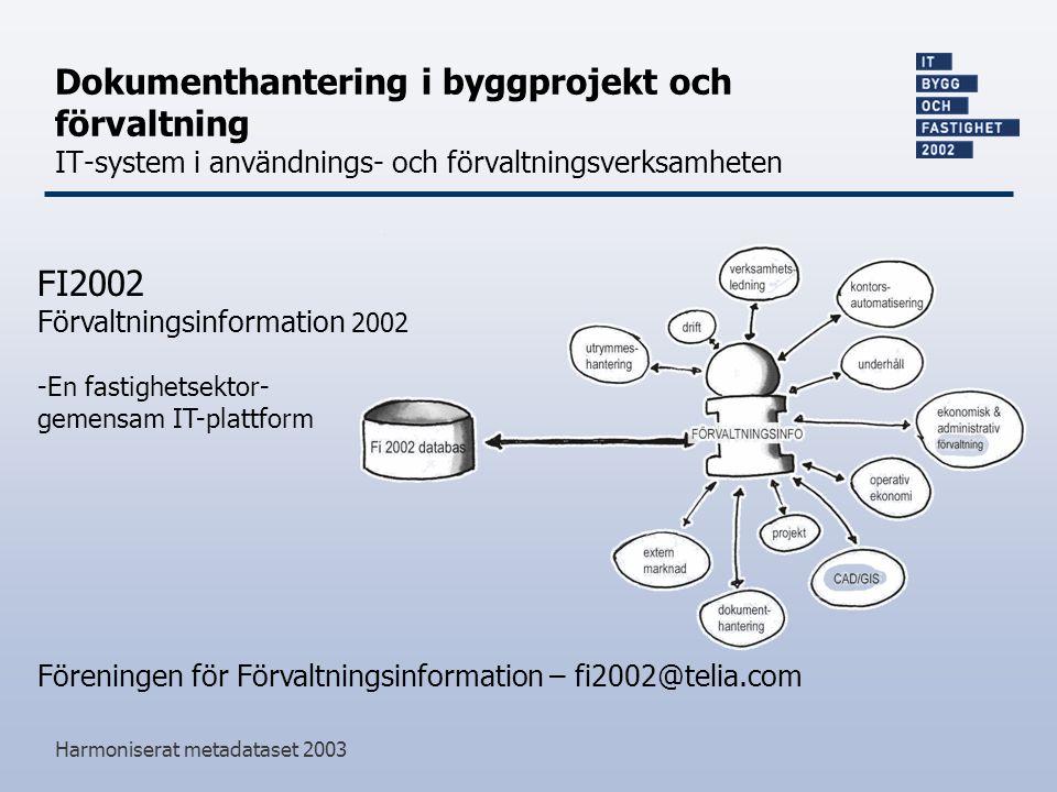 Harmoniserat metadataset 2003 Dokumenthantering i byggprojekt och förvaltning IT-system i användnings- och förvaltningsverksamheten Föreningen för Förvaltningsinformation – fi2002@telia.com FI2002 Förvaltningsinformation 2002 -En fastighetsektor- gemensam IT-plattform