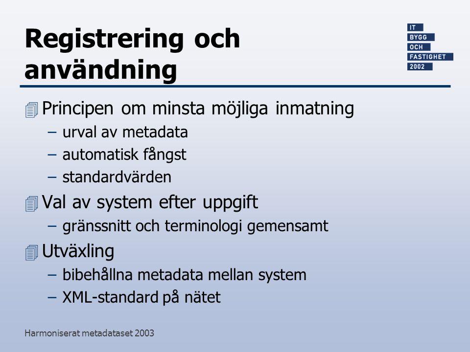 Harmoniserat metadataset 2003 Registrering och användning 4 Principen om minsta möjliga inmatning –urval av metadata –automatisk fångst –standardvärden 4 Val av system efter uppgift –gränssnitt och terminologi gemensamt 4 Utväxling –bibehållna metadata mellan system –XML-standard på nätet
