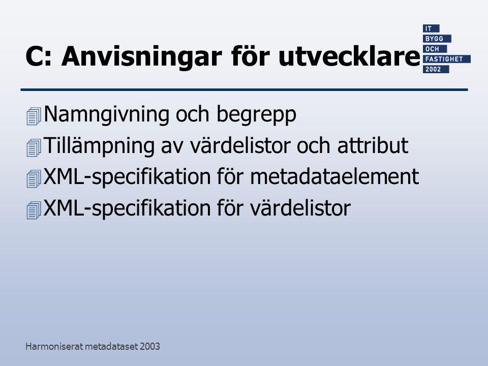Harmoniserat metadataset 2003 C: Anvisningar för utvecklare 4 Namngivning och begrepp 4 Tillämpning av värdelistor och attribut 4 XML-specifikation för metadataelement 4 XML-specifikation för värdelistor