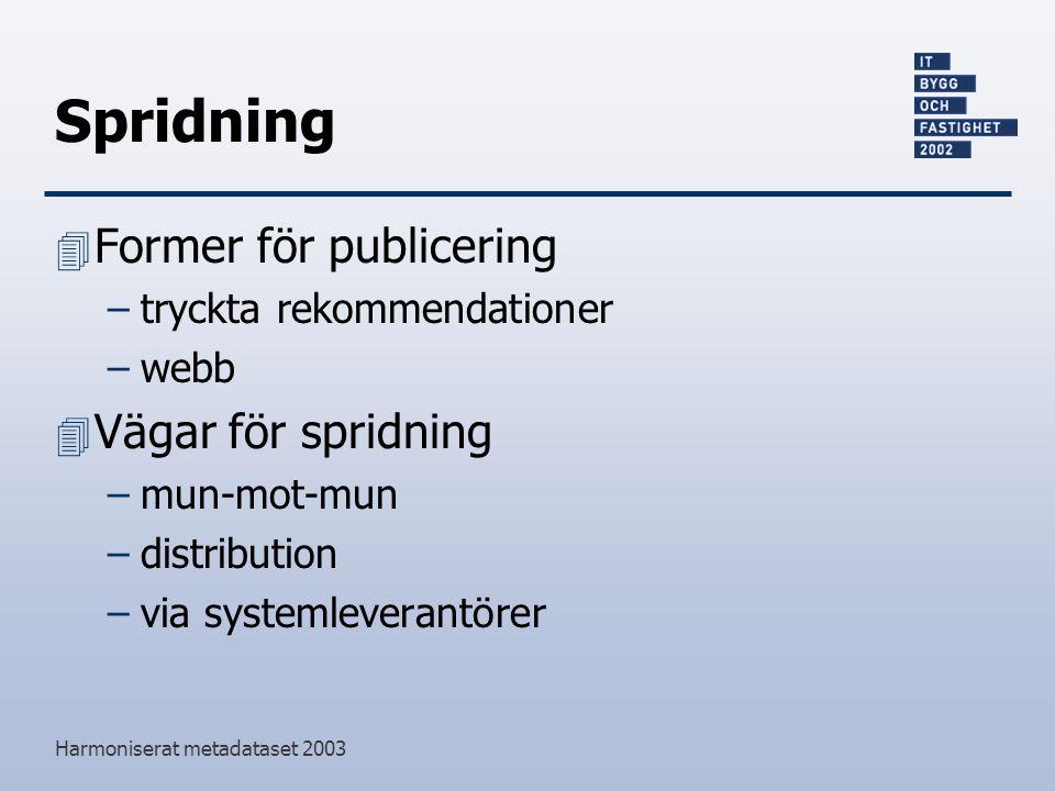 Harmoniserat metadataset 2003 Spridning 4 Former för publicering –tryckta rekommendationer –webb 4 Vägar för spridning –mun-mot-mun –distribution –via systemleverantörer