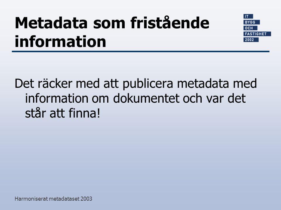 Harmoniserat metadataset 2003 Metadata som fristående information Det räcker med att publicera metadata med information om dokumentet och var det står att finna!