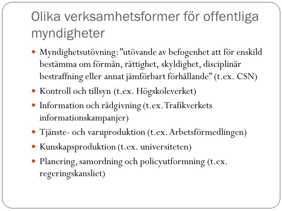 """Olika verksamhetsformer för offentliga myndigheter Myndighetsutövning: """"utövande av befogenhet att för enskild bestämma om förmån, rättighet, skyldigh"""