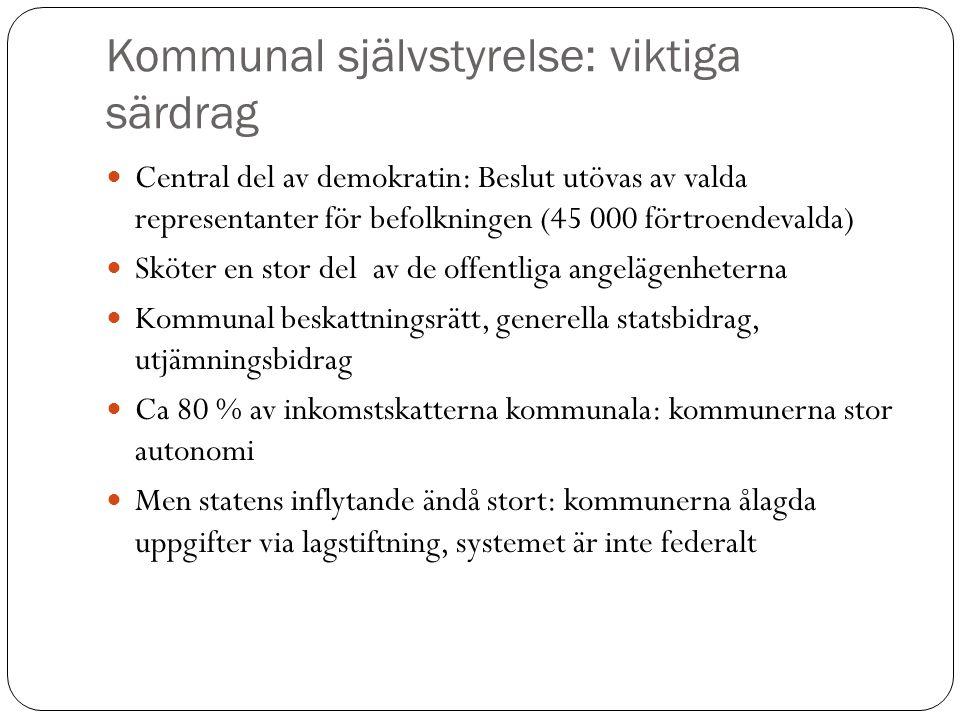 Kommunal självstyrelse: viktiga särdrag Central del av demokratin: Beslut utövas av valda representanter för befolkningen (45 000 förtroendevalda) Skö