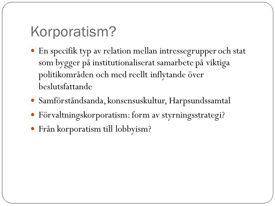 Korporatism? En specifik typ av relation mellan intressegrupper och stat som bygger på institutionaliserat samarbete på viktiga politikområden och med