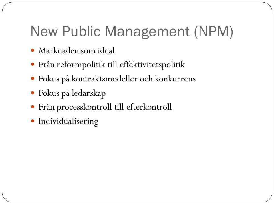New Public Management (NPM) Marknaden som ideal Från reformpolitik till effektivitetspolitik Fokus på kontraktsmodeller och konkurrens Fokus på ledars