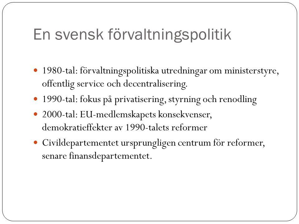 En svensk förvaltningspolitik 1980-tal: förvaltningspolitiska utredningar om ministerstyre, offentlig service och decentralisering. 1990-tal: fokus på
