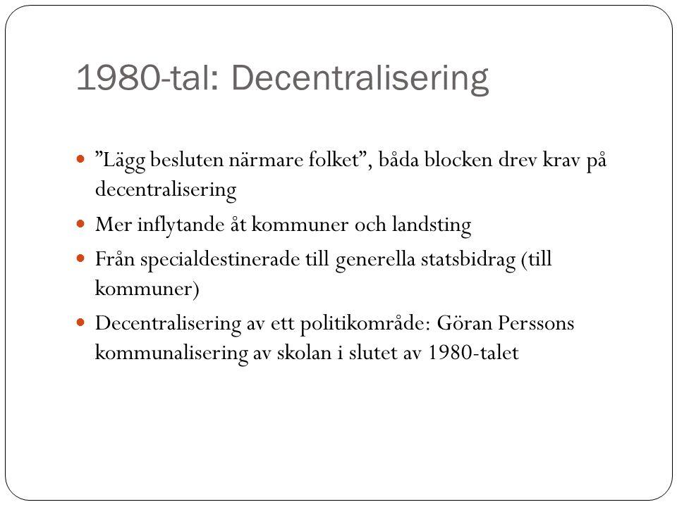"""1980-tal: Decentralisering """"Lägg besluten närmare folket"""", båda blocken drev krav på decentralisering Mer inflytande åt kommuner och landsting Från sp"""