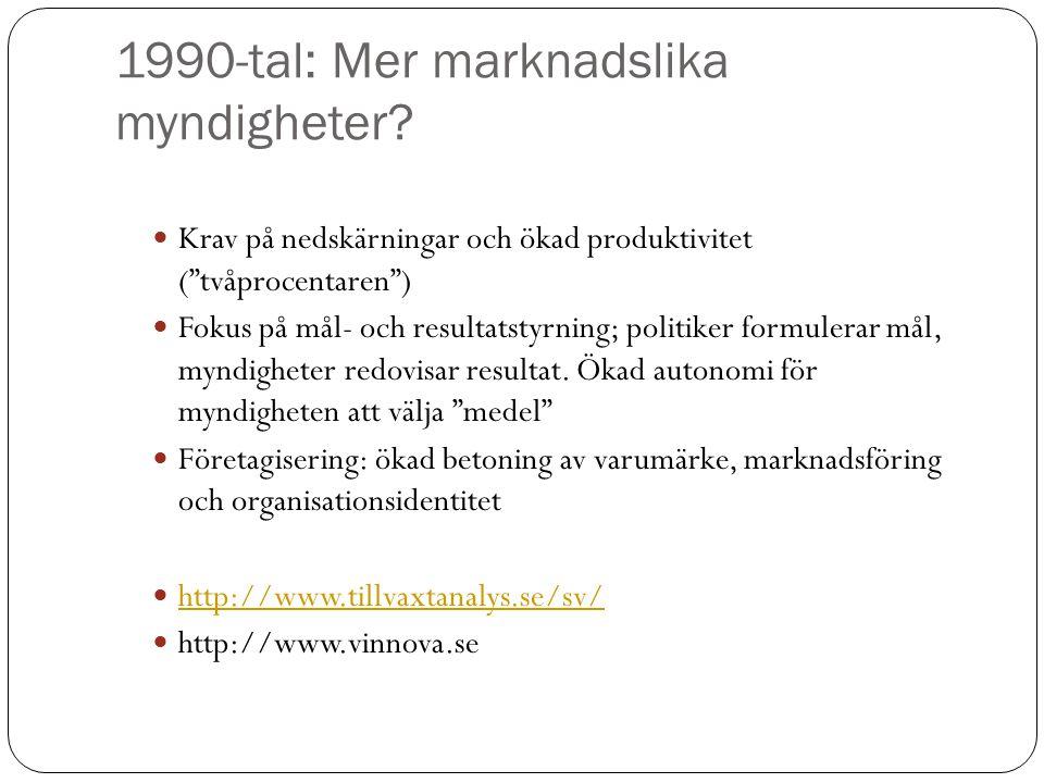 """1990-tal: Mer marknadslika myndigheter? Krav på nedskärningar och ökad produktivitet (""""tvåprocentaren"""") Fokus på mål- och resultatstyrning; politiker"""