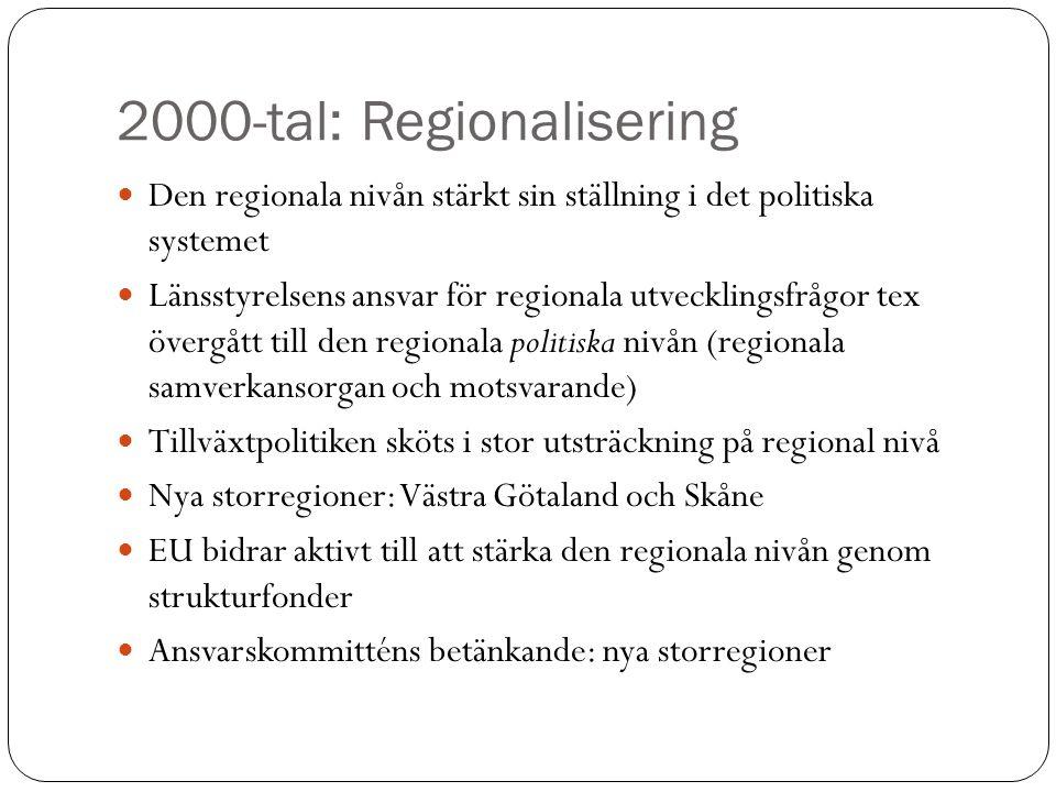 2000-tal: Regionalisering Den regionala nivån stärkt sin ställning i det politiska systemet Länsstyrelsens ansvar för regionala utvecklingsfrågor tex