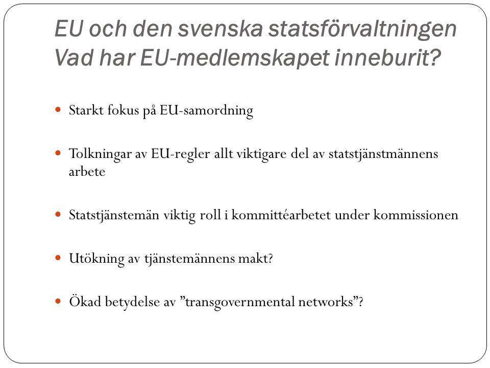 EU och den svenska statsförvaltningen Vad har EU-medlemskapet inneburit? Starkt fokus på EU-samordning Tolkningar av EU-regler allt viktigare del av s