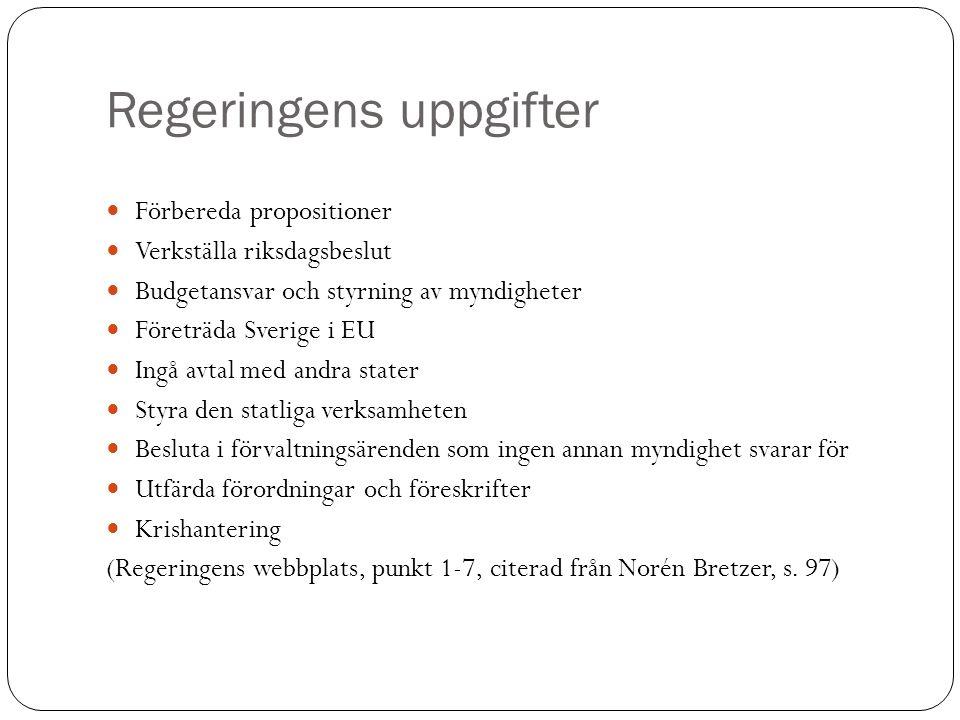 Regeringens uppgifter Förbereda propositioner Verkställa riksdagsbeslut Budgetansvar och styrning av myndigheter Företräda Sverige i EU Ingå avtal med