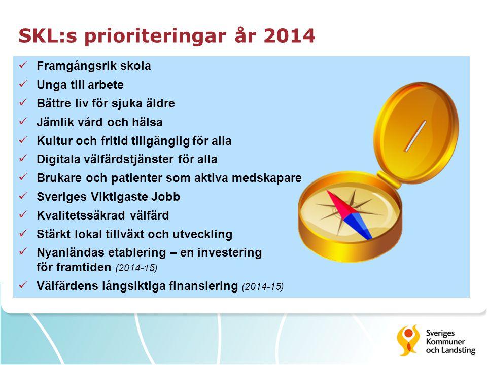 SKL:s prioriteringar år 2014 Framgångsrik skola Unga till arbete Bättre liv för sjuka äldre Jämlik vård och hälsa Kultur och fritid tillgänglig för al