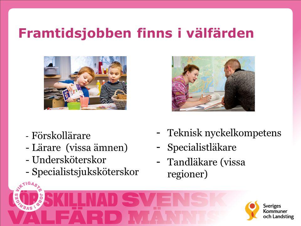 Framtidsjobben finns i välfärden -Teknisk nyckelkompetens -Specialistläkare -Tandläkare (vissa regioner) - Förskollärare - Lärare (vissa ämnen) - Unde