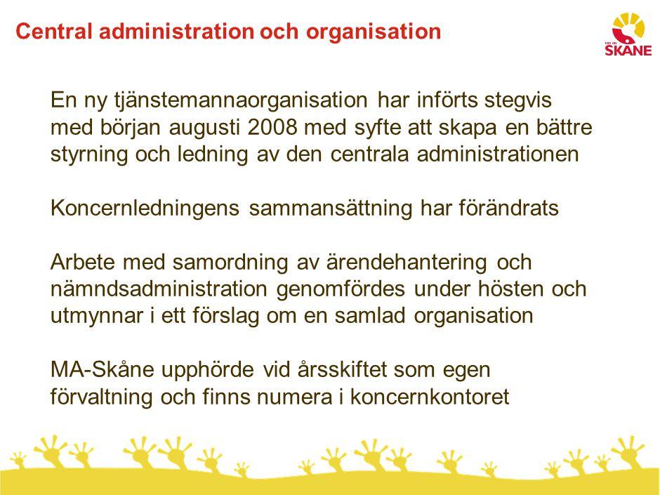 Central administration och organisation En ny tjänstemannaorganisation har införts stegvis med början augusti 2008 med syfte att skapa en bättre styrn