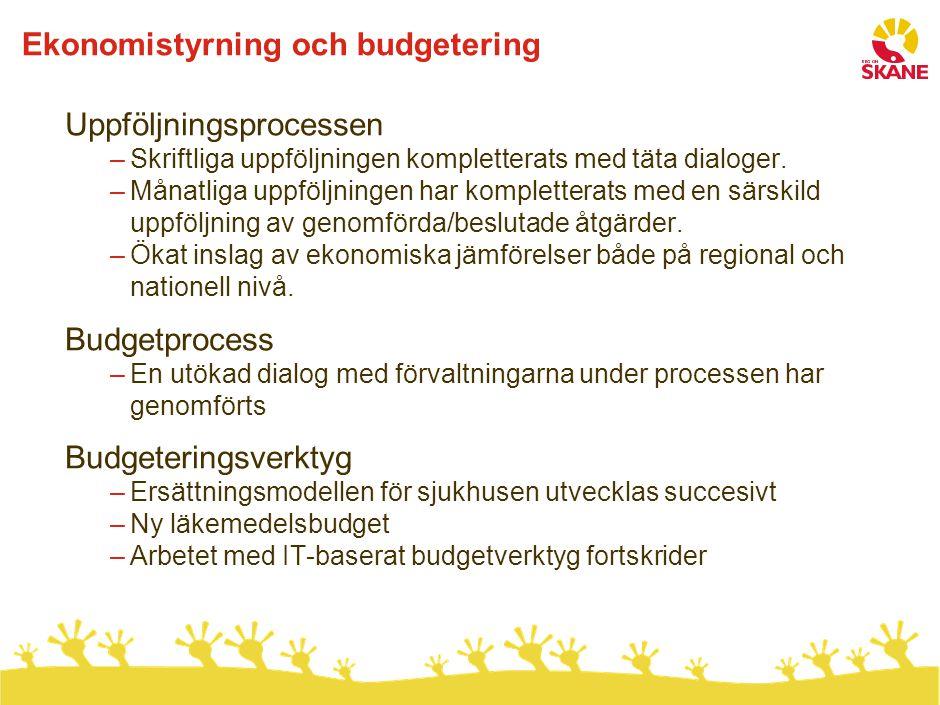 Ekonomistyrning och budgetering Uppföljningsprocessen –Skriftliga uppföljningen kompletterats med täta dialoger. –Månatliga uppföljningen har komplett