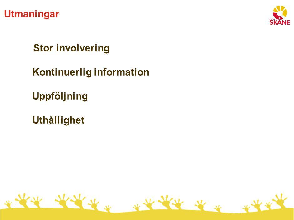 Utmaningar Stor involvering Kontinuerlig information Uppföljning Uthållighet