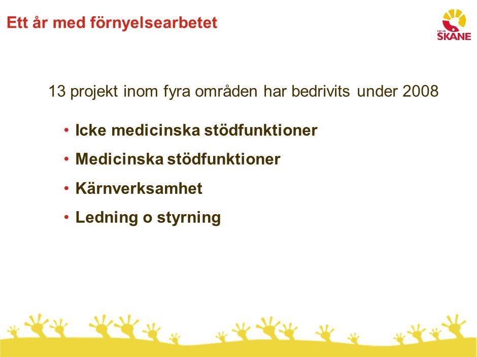 Ett år med förnyelsearbetet 13 projekt inom fyra områden har bedrivits under 2008 Icke medicinska stödfunktioner Medicinska stödfunktioner Kärnverksam