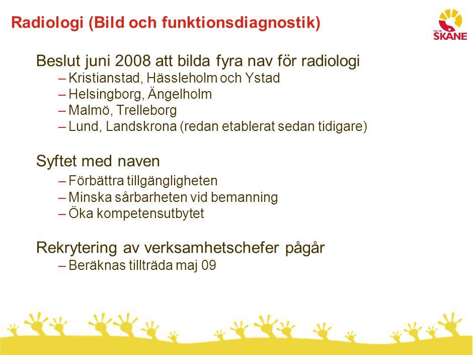 Radiologi (Bild och funktionsdiagnostik) Beslut juni 2008 att bilda fyra nav för radiologi –Kristianstad, Hässleholm och Ystad –Helsingborg, Ängelholm
