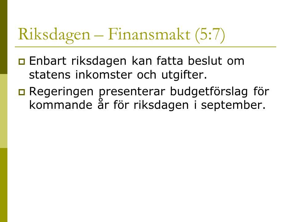 Riksdagen – Finansmakt (5:7)  Enbart riksdagen kan fatta beslut om statens inkomster och utgifter.
