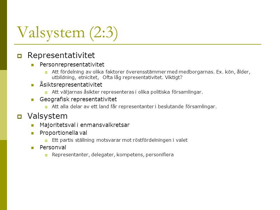 Valsystem (2:3)  Representativitet Personrepresentativitet  Att fördelning av olika faktorer överensstämmer med medborgarnas.