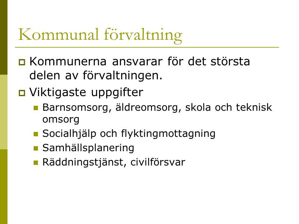 Kommunal förvaltning  Kommunerna ansvarar för det största delen av förvaltningen.