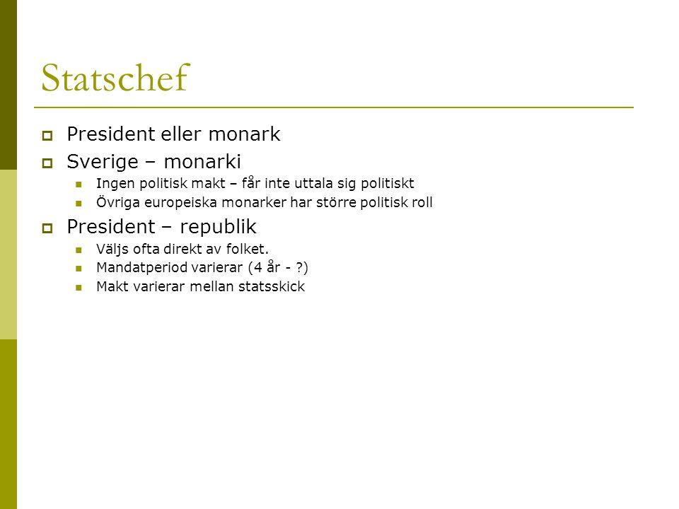 Statschef  President eller monark  Sverige – monarki Ingen politisk makt – får inte uttala sig politiskt Övriga europeiska monarker har större politisk roll  President – republik Väljs ofta direkt av folket.