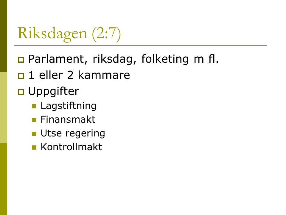 Riksdagen (2:7)  Parlament, riksdag, folketing m fl.