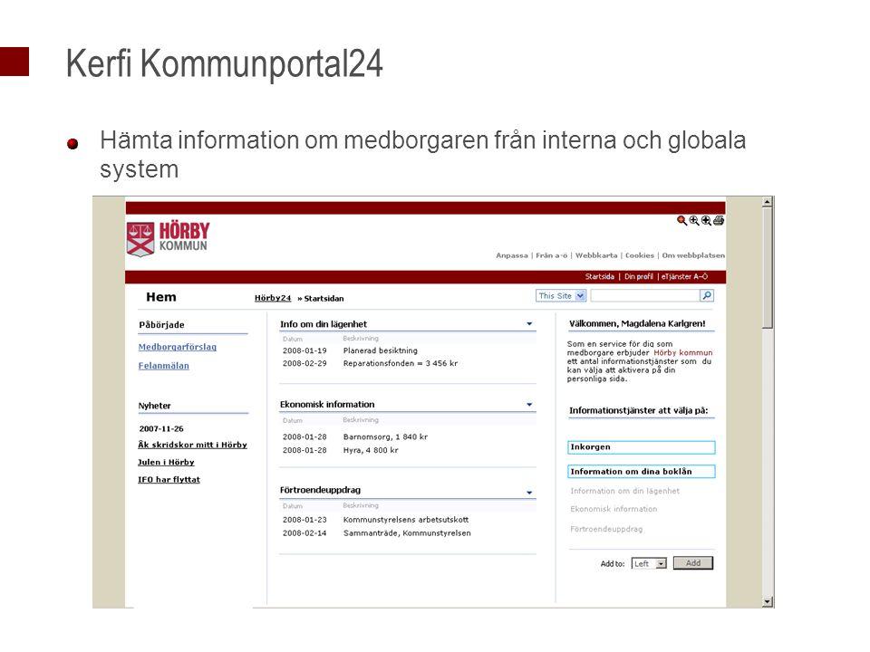 Kerfi Kommunportal24 Hämta information om medborgaren från interna och globala system