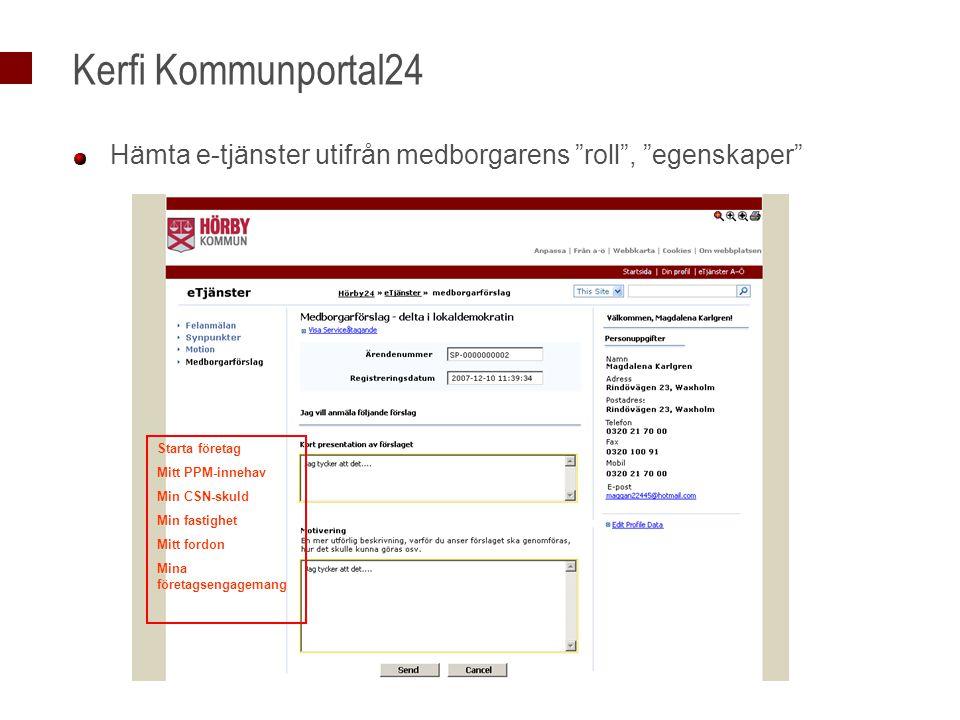 Kerfi Kommunportal24 Hämta e-tjänster utifrån medborgarens roll , egenskaper Starta företag Mitt PPM-innehav Min CSN-skuld Min fastighet Mitt fordon Mina företagsengagemang