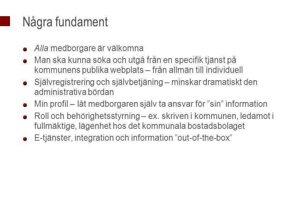 Några fundament Alla medborgare är välkomna Man ska kunna söka och utgå från en specifik tjänst på kommunens publika webplats – från allmän till indiv